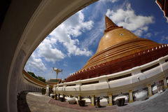 Wat Phra Pathom Chedi,佛统 库存图片