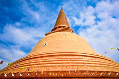 Wat Phra Pathom Chedi in blue sky, the tallest stupa Stock Image