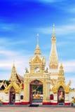 Wat Phra That Phanom alloggia lo stupa famoso che contiene l'osso di seno del ` s di Buddha nella provincia di Nakhon Phanom, Tai Fotografia Stock