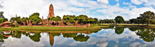 Wat Phra Ram complex and Rama public park panorama Stock Images