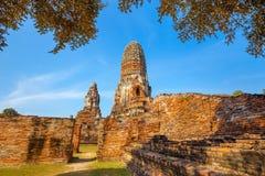Wat Phra Ram Temple in het Historische Park van Ayuthaya, Thailand Royalty-vrije Stock Foto