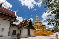 Wat Phra That Si Jom läderrem Arkivbild
