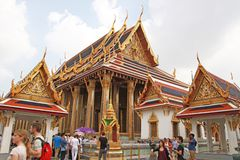 Tourists visit Temple of the Emerald Buddha Royalty Free Stock Image
