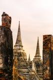 Wat Phra Si Sanphet bei Sonnenuntergang, Ayutthaya, Thailand Stockfotografie