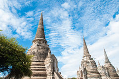 Wat phra si sanphet with blue sky and cloud Stock Photo