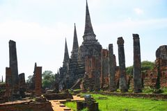 Wat Phra Si Sanphet, o sanphet do si de Phra do mosWat o templo o mais importante em Ayutthaya Tailândia em setembro 24,2017 Fotografia de Stock Royalty Free