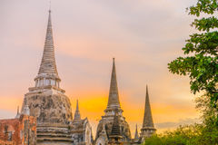 Wat Phra Si Sanphet at sunset , Ayutthaya, Thailand Royalty Free Stock Images