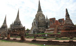 Wat Phra Si Sanphet. `Temple of the Holy, Splendid Omniscient` was the holiest temple on the site of the old Royal Palace in Thailand`s ancient capital of stock image