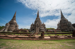 Wat Phra Si Sanphet. Was built in 1448 A.D. on the site which had served for the royal palace from 1350 to 1448 spanning the reigns of King Ramathibodi I to Royalty Free Stock Photography