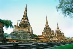 Wat Phra Si Sanphetwas the holiest temple on the site of the old Royal Palace in Thailand`s ancient capital of Ayutthaya until the stock photo