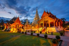 Wat Phra Singh is located in the western part of the old city center of Chiang Mai. Thailand stock photography