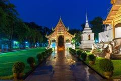 Wat Phra Singh Temple alla notte, Chiang Mai Fotografia Stock