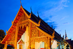 Wat Phra Singh temple at sunset in Chiang Mai Stock Photography
