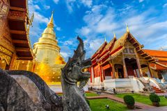 Wat Phra Singh. Is located in the western part of the old city center of Chiang Mai,Thailand royalty free stock photography