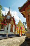 Wat Phra That Sob Fang. Is situated in Amphoe Mae Ai, Chiang Mai, Thailand. It was build almost 1,300 years ago which contain Buddha forehead bone and renovated stock images