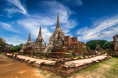 Wat Phra Sri Sanphet寺庙。阿尤特拉利夫雷斯,泰国 免版税库存图片