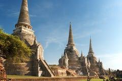 Wat Phra Sri Sanphet寺庙, Ayutthaya 免版税图库摄影