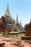 Wat Phra Sri Sanphet bonito, ru?nas do templo real antigo da capital, Ayutthaya, Tail?ndia fotografia de stock