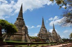 Wat Phra Sri Sanphet en el parque histórico Tailandia de Ayutthaya Foto de archivo libre de regalías