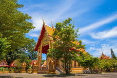 a golden Buddha image interred up to the cheat in Wat Phra Thong Stock Photos