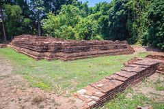 Wat Phrachao Ong Dam (Temple of the Black-Bodied Lord), a ruined. Temple that is part of the Wiang Kum Kam archaeological site, Chiang Mai, Thailand Stock Photo