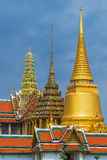 Wat Phrakaew (Temple of the Emerald Buddha). Close-up photo of top temple and pagoda in Wat Phrakaew (Temple of the Emerald Buddha), Bangkok Thailand Stock Photography