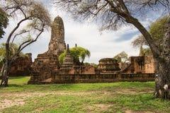Wat Phraram在阿尤特拉利夫雷斯,泰国 库存图片