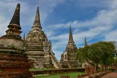 Wat Phrasisanpetch en el parque histórico de Ayutthaya Foto de archivo libre de regalías