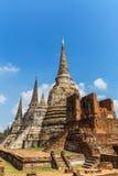 wat phrasrisanpetch寺庙的古老塔在泰国 免版税库存照片