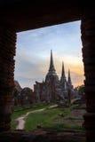 Wat Phrasrisanphet i solnedgången Arkivfoto