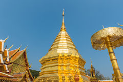Wat Phrathat土井素贴寺庙在清迈,泰国 库存照片