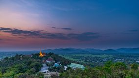 Wat Phrathat Doi Saket with colorful sunset sky and clouds. Chiang Mai, Thailand Stock Photo