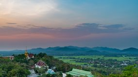 Wat Phrathat Doi Saket with colorful sunset sky and clouds. Chiang Mai, Thailand Royalty Free Stock Photo