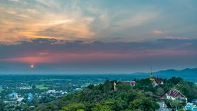 Wat Phrathat Doi Saket with colorful sunset sky and clouds. Chiang Mai, Thailand Stock Images