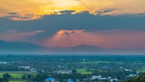 Wat Phrathat Doi Saket with colorful sunset sky and clouds. Chiang Mai, Thailand Royalty Free Stock Images