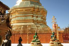 Wat Phrathat Doi Suthep at Chiang Mai. Thailand.Pagoda covered with gold plate Stock Photo
