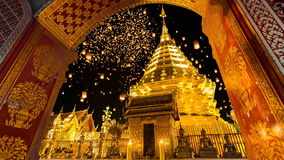 Wat Phrathat Doi Suthep Temple Of Chiang Mai, Thailand. Wat Phra That Doi Suthep And Many Sky Fire Lantern Background Famous Temple of Chiang Mai, Thailand stock video