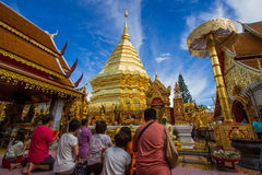 Wat Phrathat Doi Suthep Temple In Chiang Mai. Traditional construction wall buddhism art religious thailand wat umbrella Royalty Free Stock Photos