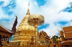 Wat Phrathat Doi Suthep Temple i Chiang Mai Arkivbild