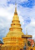 Wat Phrathat Hariphunchai Temple, Spottschrift, Thailand Lizenzfreie Stockfotografie