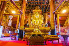 Wat Phumin,Nan, Thailand. Nan, Thailand- October 16,2015: Buddha image in church of Wat Phumin, a unique thai traditional temple with Lanna style (northen of royalty free stock image