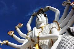 Wat Plai Laem, blue sky, Buddha, Koh Samui, bottom view stock photos
