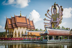 Wat Plai Laem-tempel in Koh Samui, Surat Thani, Thailand Stock Afbeelding