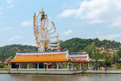 Wat Plai Laem temple with 18 hands God statue Guan Yin on Koh Sa Stock Photo