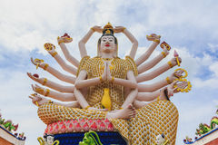 Wat Plai Laem temple and 18 hands Guanyin or Guan Yin statue on. Koh Samui island in Thailand Royalty Free Stock Photos