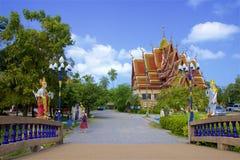 Wat Plai Laem Temple territory in Koh Samui stock photos