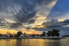 Wat Poramai Temple in bangkok thailand. The river and Wat Poramai Temple. It's a public area Stock Photography