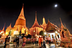 Wat pra kaew großartiger Palast nachts Bangkok Stockbild