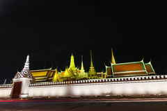 Wat pra kaew Public Temple Grand palace at night, Bangkok Thailand Stock Image
