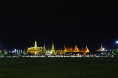 Wat pra kaew Public Temple Grand palace at night, Bangkok Thailand Royalty Free Stock Photo